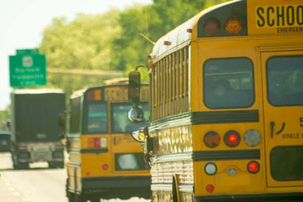 School Buses on a highway