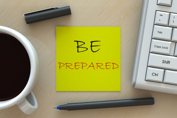 BE PREPARED, message on business note paper