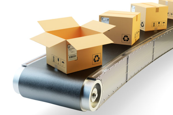Packaging beltline, packages delivery and parcels shipping concept