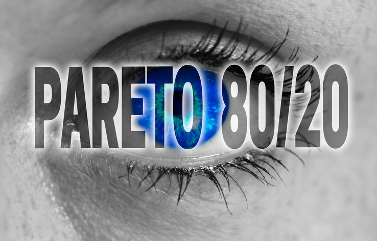 Pareto 80/20 eye looks at viewer concept background