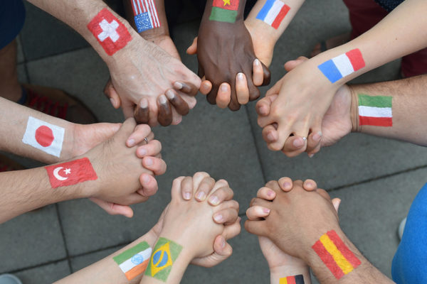 International brothers and sisters in a circle