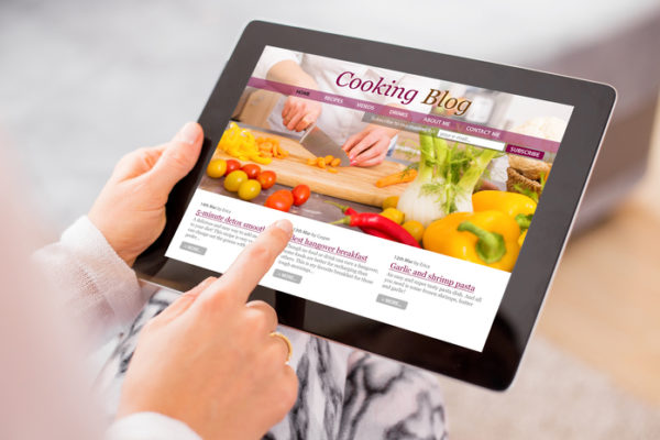 Cooking blog on tablet