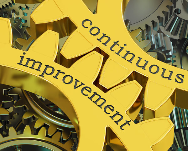 continuous improvement concept on the gears, 3D rendering