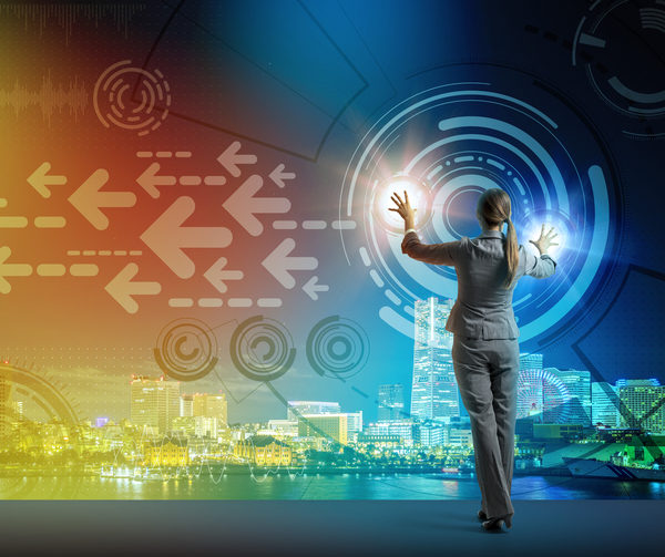 young business person and graphical user interface concept, smart city, internet of things