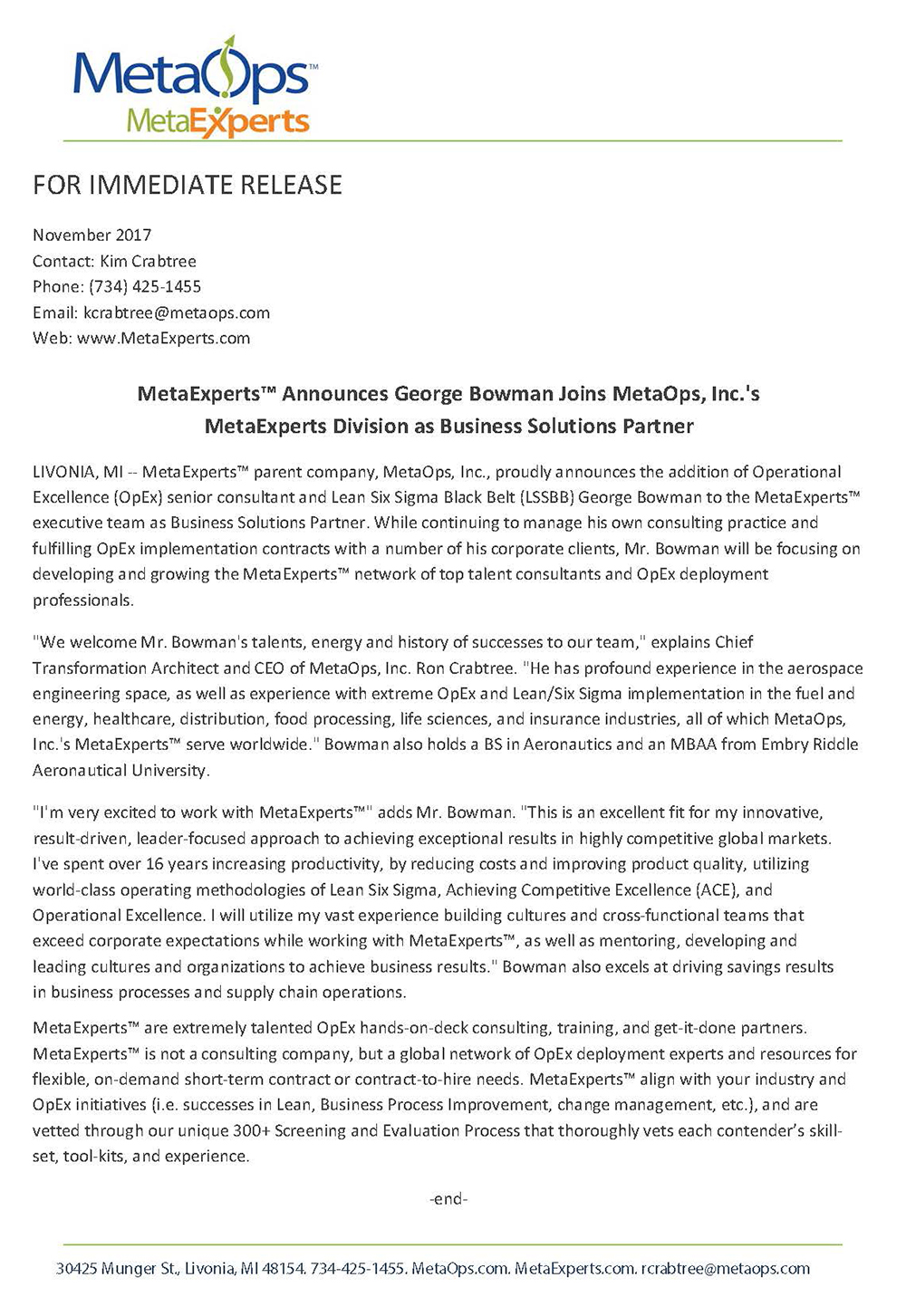 George Bowman Press Release