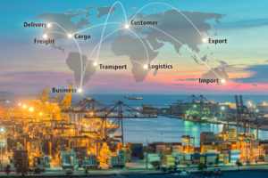 Map global logistics partnership connection of Container Cargo